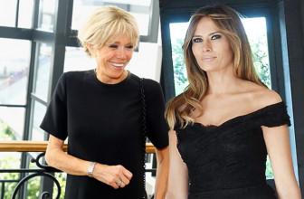 Первая леди Франции Брижит Макрон своим мини-платьем отвлекла внимание от Мелании Трамп