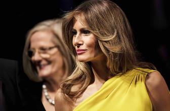Мелания Трамп в желтом платье Christian Dior на ужине с премьер-министром Австралии в Нью-Йорке