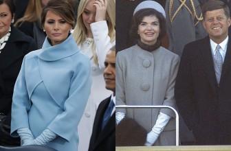 Леди в голубом: наряд Мелании Трамп сравнили со стилем Жаклин Кеннеди в день инаугурации