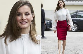 Королева Испании Летиция в элегантном наряде на юбилее финансового фонда в Мадриде