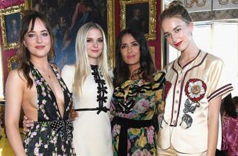 Дакота Джонсон с сестрами, Сальма Хайек, Кирстен Данст и другие на показе Gucci Cruise 2018